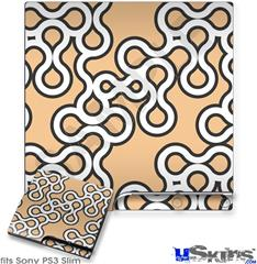 Sony PS3 Slim Decal Style Skin - Locknodes 03 Peach
