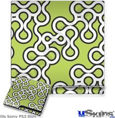 Sony PS3 Slim Decal Style Skin - Locknodes 03 Sage Green