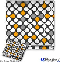Sony PS3 Slim Decal Style Skin - Locknodes 05 Orange