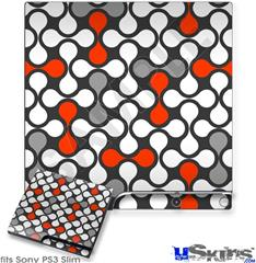 Sony PS3 Slim Decal Style Skin - Locknodes 05 Red
