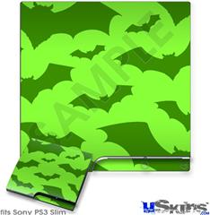 Sony PS3 Slim Decal Style Skin - Deathrock Bats Green