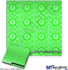 Sony PS3 Slim Decal Style Skin - Gothic Punk Pattern Green