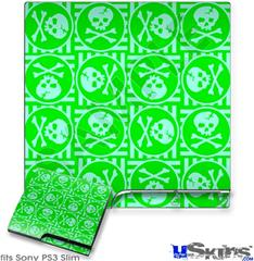 Sony PS3 Slim Decal Style Skin - Skull Patch Pattern Green