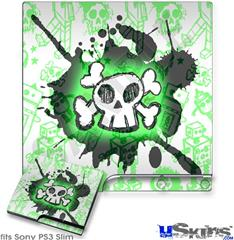 Sony PS3 Slim Decal Style Skin - Cartoon Skull Green