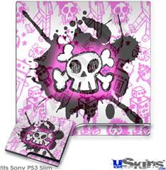 Sony PS3 Slim Decal Style Skin - Cartoon Skull Pink