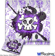 Sony PS3 Slim Decal Style Skin - Cartoon Skull Purple