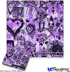 Sony PS3 Slim Decal Style Skin - Scene Kid Sketches Purple