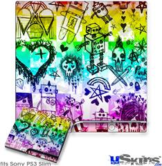 Sony PS3 Slim Decal Style Skin - Scene Kid Sketches Rainbow