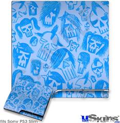 Sony PS3 Slim Decal Style Skin - Skull Sketches Blue
