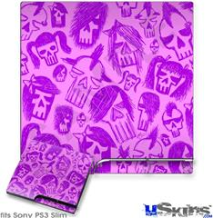Sony PS3 Slim Decal Style Skin - Skull Sketches Purple
