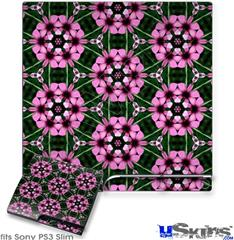 Sony PS3 Slim Decal Style Skin - Floral Pattern Pink