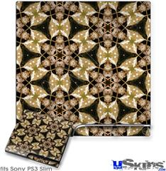 Sony PS3 Slim Decal Style Skin - Leave Pattern 1 Brown