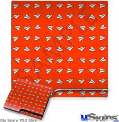 Sony PS3 Slim Decal Style Skin - Paper Planes Red