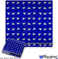 Sony PS3 Slim Decal Style Skin - Paper Planes Royal Blue
