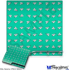 Sony PS3 Slim Decal Style Skin - Paper Planes Turquoise