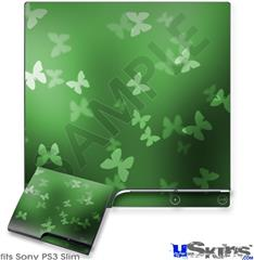 Sony PS3 Slim Decal Style Skin - Bokeh Butterflies Green