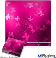 Sony PS3 Slim Decal Style Skin - Bokeh Butterflies Hot Pink