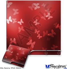 Sony PS3 Slim Decal Style Skin - Bokeh Butterflies Red