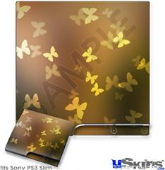 Sony PS3 Slim Decal Style Skin - Bokeh Butterflies Yellow