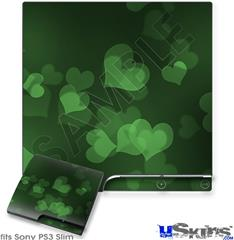 Sony PS3 Slim Decal Style Skin - Bokeh Hearts Green