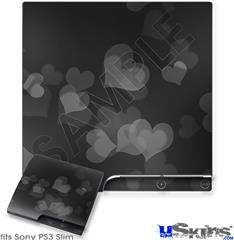 Sony PS3 Slim Decal Style Skin - Bokeh Hearts Grey
