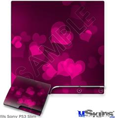 Sony PS3 Slim Decal Style Skin - Bokeh Hearts Hot Pink