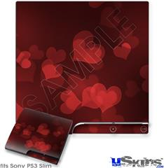 Sony PS3 Slim Decal Style Skin - Bokeh Hearts Red
