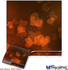 Sony PS3 Slim Decal Style Skin - Bokeh Hearts Fire