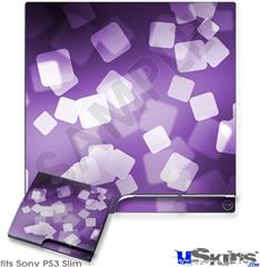 Sony PS3 Slim Decal Style Skin - Bokeh Squared Purple
