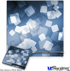 Sony PS3 Slim Decal Style Skin - Bokeh Squared Blue