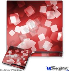 Sony PS3 Slim Decal Style Skin - Bokeh Squared Red