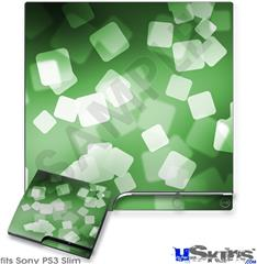 Sony PS3 Slim Decal Style Skin - Bokeh Squared Green