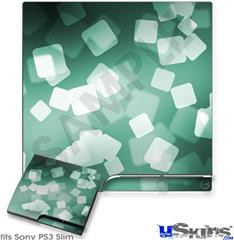 Sony PS3 Slim Decal Style Skin - Bokeh Squared Seafoam Green