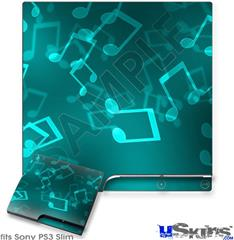 Sony PS3 Slim Decal Style Skin - Bokeh Music Neon Teal