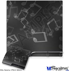 Sony PS3 Slim Decal Style Skin - Bokeh Music Grey