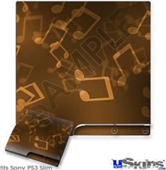 Sony PS3 Slim Decal Style Skin - Bokeh Music Orange