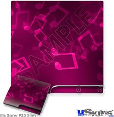Sony PS3 Slim Decal Style Skin - Bokeh Music Hot Pink