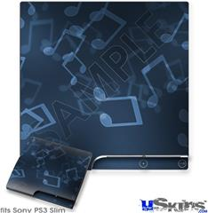Sony PS3 Slim Decal Style Skin - Bokeh Music Blue