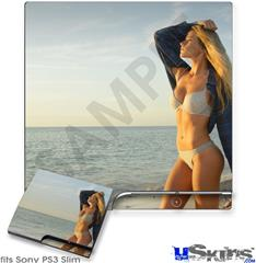 Sony PS3 Slim Decal Style Skin - Kayla DeLancey Sunset Beach 52