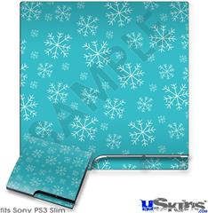 Sony PS3 Slim Decal Style Skin - Winter Snow Teal Blue