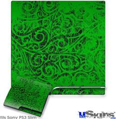Sony PS3 Slim Decal Style Skin - Folder Doodles Green