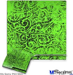 Sony PS3 Slim Decal Style Skin - Folder Doodles Neon Green