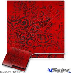 Sony PS3 Slim Decal Style Skin - Folder Doodles Red