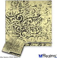 Sony PS3 Slim Decal Style Skin - Folder Doodles Yellow Sunshine