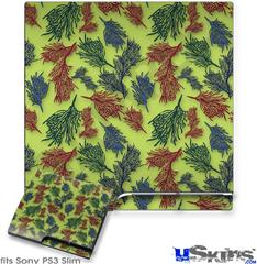 Sony PS3 Slim Decal Style Skin - Floating Coral Sage Green