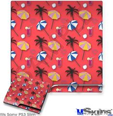 Sony PS3 Slim Decal Style Skin - Beach Party Umbrellas Coral