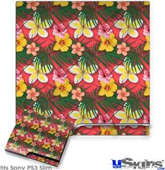 Sony PS3 Slim Decal Style Skin - Beach Flowers 02 Coral