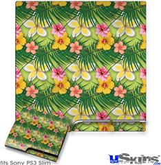 Sony PS3 Slim Decal Style Skin - Beach Flowers 02 Sage Green