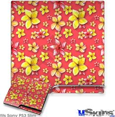 Sony PS3 Slim Decal Style Skin - Beach Flowers Coral
