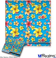 Sony PS3 Slim Decal Style Skin - Beach Flowers Blue Medium